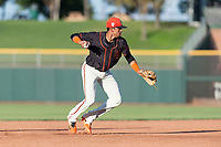 AZL Giants Orange third baseman Abdiel Layer (17) throws to first base during an Arizona League game against the AZL Rangers at Scottsdale Stadium on August 4, 2018 in Scottsdale, Arizona. The AZL Giants Black defeated the AZL Rangers by a score of 3-2 in the first game of a doubleheader. (Zachary Lucy/Four Seam Images)