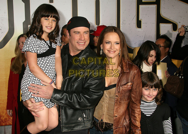 "JOHN TRAVOLTA, KELLY PRESTON & DAUGHTERS (ELLA BLEU TRAVOLTA).""Wild Hogs"" Los Angeles Premiere at the El Capitan Theatre, Hollywood, California, USA..February 27th, 2007.half length black brown leather jacket married husband wife couple father mother kids children family.CAP/ADM/BP.©Byron Purvis/AdMedia/Capital Pictures"