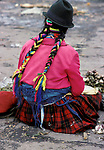Local Andean Indian Woman with plaited hair, typical dress, Latacunga, Ecuador, South America