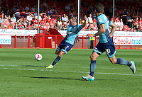 Garry Thompson of Wycombe Wanderers tees up a shot during the Sky Bet League 2 match between Crawley Town and Wycombe Wanderers at Broadfield Stadium, Crawley, England on 6 August 2016. Photo by Alan  Stanford / PRiME Media Images.