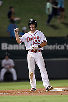 Left fielder Mitchell Gunsolus (22) of the Greenville Drive pumps his fist after hitting a triple in Game 4 of the South Atlantic League Championship Series against the Kannapolis Intimidators on Friday, September 15, 2017, at Fluor Field at the West End in Greenville, South Carolina. Greenville won 8-3 for the team's first SAL Championship, winning the series 3-1. (Tom Priddy/Four Seam Images)
