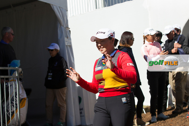 Ha Ha Jang is all smiles for the fans after taking the lead at the end of the continuation of the Second round of the LPGA Coates Golf Championship 2016 , from the Golden Ocala Golf and Equestrian Club, Ocala, Florida. 5/2/16<br /> Picture: Mark Davison | Golffile<br /> <br /> <br /> All photos usage must carry mandatory copyright credit (&copy; Golffile | Mark Davison)