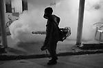 Combate à Malária. Ficais de saúde aplicando a termonebulização na periferia de Manaus (AM)  .Fight against Malaria. Health inspectors applying.the thermonebulization in the outskirts of Manaus (Amazonas State).
