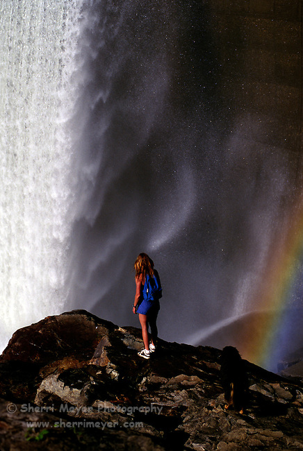Hiker viewing the spillway at Clementine Dam on the Northfork of the American River