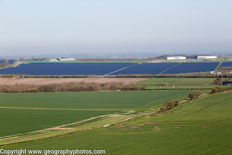 Wroughton airfield solar park renewable energy production solar farm, Wroughton, Wiltshire, England, UK
