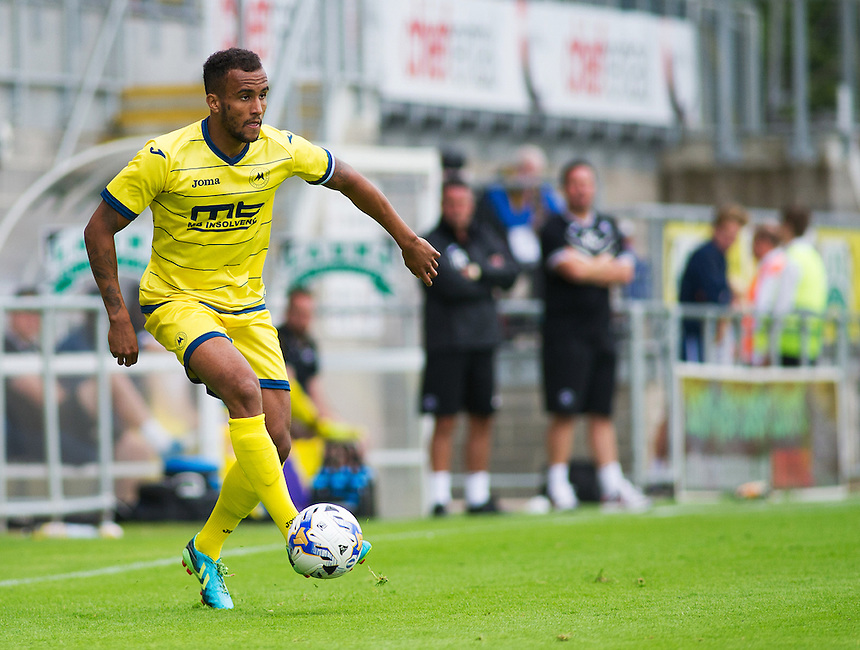 Torquay United's James Hurst in action during todays match  <br /> <br /> Photographer Kevin Barnes/CameraSport<br /> <br /> Football - Pre Season Friendly - Torquay United v Newport County AFC - Saturday 18th July 2015 - Plainmoor - Torquay<br /> <br /> &copy; CameraSport - 43 Linden Ave. Countesthorpe. Leicester. England. LE8 5PG - Tel: +44 (0) 116 277 4147 - admin@camerasport.com - www.camerasport.com