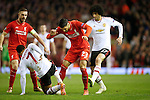 Emre Can of Liverpool battles Marouane Fellaini of Manchester United during the UEFA Europa League match at Anfield. Photo credit should read: Philip Oldham/Sportimage