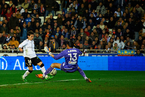 19.01.2012. Valencia, Spain.  Pablo Piatti scores the third goal during the round 1 of quarter final of king's cup between Valencia CF and Levante UD at Mestalla Stadium in Valencia