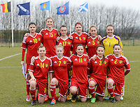 20150226 - Tubize , Belgium : Belgian Team  pictured with Amber De Priester (10) , Silke Baccarne (1) , Sieglinde Brys (2) , Ellen Knockaert (3) , Kirsten Raemdonck (4) , Celien Guns (5) , Elena Dhont (7) , Ulrike De Frere (11) , Yuna Appermont (14) , Marie Minnaert (15) and Lore Asselberghs (17) during the friendly female soccer match between Women under 17 teams of  Belgium and Scotland  . Thursday 26th February 2015 . PHOTO DAVID CATRY