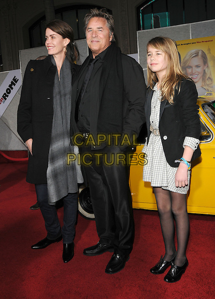 KELLEY PHLEGER, DON JOHNSON & ATHERTON GRACE JOHNSON.World Premiere of 'When in Rome' held at El Capitan Theatre in Hollywood, California, USA..January 27th, 2010.full length black trousers jacket grey gray scarf married husband wife white daughter father dad mother mom mum family .CAP/RKE/DVS.©DVS/RockinExposures/Capital Pictures.