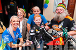 Poker Run : Pulmonary Fibrosis sufferer Michael Beazley, 8 years old,  pictured with his mother Lisa Balmer, grand mother Pamela Curran , Kieran O'Flaherty, & grandfather Michael O'Flaherty, Ballybunion prior to the start of the poker to raise funds to buy lighter equipment for him to carry at Flannagan's Bar , Listowel on Sunday last.