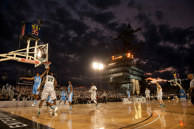 SAN DIEGO, CA - NOVEMBER 11, 2011: The Michigan State Spartans and the North Carolina Tar Heels in action during the 2011 Quicken Loans Carrier Classic on the USS Carl Vinson..(Photo by Robert Beck / ESPN)..- RAW FILE AVAILABLE -.- CMI000165188.jpg -
