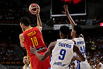 Pierre Oriola of Spain and Juan Miguel Suero (L) and Luis David Montero (R) of Dominican Republic during the Friendly match between Spain and Dominican Republic at WiZink Center in Madrid, Spain. August 22, 2019. (ALTERPHOTOS/A. Perez Meca)