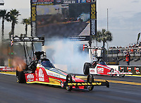 Mar 16, 2014; Gainesville, FL, USA; NHRA top fuel dragster driver Doug Kalitta (left) defeats Steve Torrence during the Gatornationals at Gainesville Raceway Mandatory Credit: Mark J. Rebilas-USA TODAY Sports