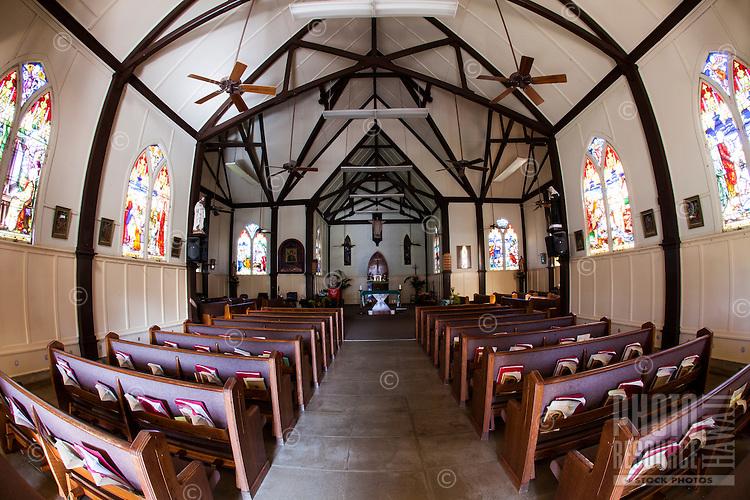 The interior of Sacred Heart Church, Hawi, Big Island.