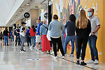 A group of buyers wait their turn in the Xanadu Shopping Center in Madrid on the day of its reopening during the beginning of Phase 2 of the unconfinement during the health crisis due to the Covid-19 - Coronavirus pandemic. June 8,2020. (ALTERPHOTOS/Ricardo Blanco)