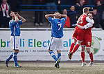 Dejection for Montrose as Josh Flood celebrates his late equaliser with Scott Davidson