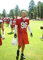 Jul 30, 2008; Flagstaff, AZ, USA; Arizona Cardinals defensive end Joe Tafoya during training camp on the campus of Northern Arizona University. Mandatory Credit: Mark J. Rebilas-