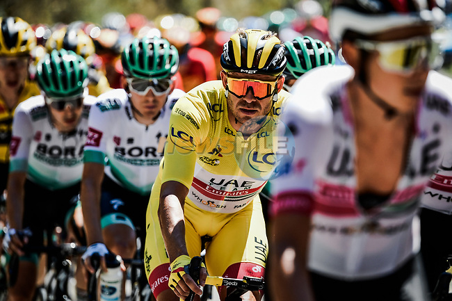 The peloton led by UAE Team Emirates with Yellow Jersey Alexander Kristoff (NOR) during Stage 2 of Tour de France 2020, running 186km from Nice Haut Pays to Nice, France. 30th August 2020.<br /> Picture: ASO/Alex Broadway | Cyclefile<br /> All photos usage must carry mandatory copyright credit (© Cyclefile | ASO/Alex Broadway)