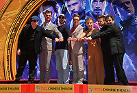 """LOS ANGELES, USA. April 23, 2019: Ken Feige, Chris Hemsworth, Chris Evans, Robert Downey Jr., Scarlett Johansson, Jeremy Renner & Mark Ruffalo at the handprint ceremony for the cast of """"Avengers: Endgame"""" at the TCL Chinese Theatre.<br /> Picture: Paul Smith/Featureflash"""