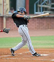 Infielder Michael Johnson (25) of the Bristol White Sox, Appalachian League affiliate of the Chicago White Sox, in a game against the Elizabethton Twins on August 18, 2011, at Joe O'Brien Field in Elizabethton, Tennessee. Elizabethton defeated Bristol, 13-3. (Tom Priddy/Four Seam Images)