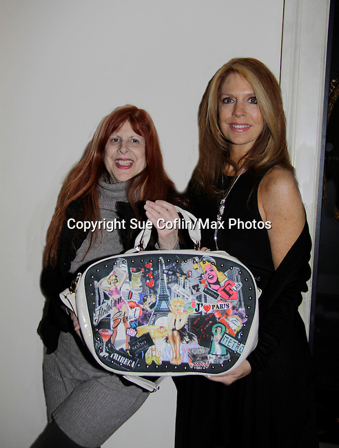 Jane Elissa (Jane's birthday and bags which donates $s to Lymphoma/Leukemia Society) poses with Kelly Clinton at a night of entertainment by Frank Wildhorn (Jeckyll and Hyde, Bonnie & Clyde) and Kelly's husband Clint Holmes (Las Vegas entertainer) and jazz singer Jane Monheit at the Cafe Carlyle, New York City. Clint's wife Kelly Clinton also was there. (Photo by Sue Coflin/Max Photos)