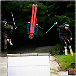 Pix: Shaun Flannery/shaunflanneryphotography.com<br /> <br /> COPYRIGHT PICTURE>>SHAUN FLANNERY>01302-570814>>07778315553>><br /> <br /> 12th July 2015<br /> British Freeski Camp<br /> Rossendale.<br /> Jacob Watson, Tom Greenway, Mason Flannery.