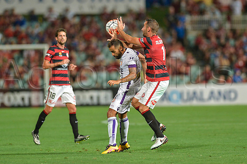 26.02.2016. Pirtek Stadium, Parramatta, Australia. Hyundai A-League. Western Sydney Wanderers versus Perth Glory. Wanderers midfielder Alberto handles the ball. The Wanderers won 2-1.