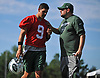 Nick Filis, New York Jets Media Relations Manager, right, chats with quarterback Bryce Petty #9 after the first team practice of training camp at the Atlantic Health Jets Training Center in Florham Park, NJ on Saturday, July 29, 2017.
