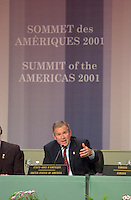 April 22,  2001, Quebecl, Quebec, Canada<br /> <br /> George W, Bush, United States of Americas President  speak at the closing press conference of the Summit of the Americas , April 22, 2001 in Quebec City, CANADA.<br /> <br /> Both leader agreed to meet with Canadian Prime Minister Jean Chretien,  before the upcoming G-8 meeting this spring in Alberta, Canada.