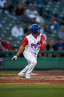 Stockton Ports designated hitter Melvin Mercedes (37) follows through on his swing during a California League game against the Rancho Cucamonga Quakes at Banner Island Ballpark on May 16, 2018 in Stockton, California. Rancho Cucamonga defeated Stockton 6-3. (Zachary Lucy/Four Seam Images)