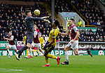 Nick Pope of Burnley saves as Pierre-Emerick Aubameyang of Arsenal attempts to lift the ball over him during the Premier League match at Turf Moor, Burnley. Picture date: 2nd February 2020. Picture credit should read: Andrew Yates/Sportimage