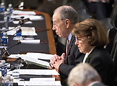 "United States Senator Charles Grassley (Republican of Iowa) asks a question during testimony before the US Senate Committee on the Judiciary during ""an oversight hearing to examine the Parkland shooting and legislative proposals to improve school safety"" on Capitol Hill in Washington, DC on Wednesday, March 14, 2018.<br /> Credit: Ron Sachs / CNP"