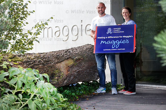 Kris Boyd with Gillian Hailstones, centre manage for Maggie's, as the Rangers Charity Foundation give support to the cancer charity this season in memory of Sandy Jardine who received help and support from Maggie's throughout his illness.