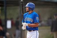 St. Petersburg Titans Gabriel Rincones (24) at bat during a game against the Northwest Florida Raiders on January 31, 2020 at Lake Myrtle Sports Park in Auburndale, Florida.  Northwest Florida defeated St. Petersburg 5-1.  (Mike Janes/Four Seam Images)