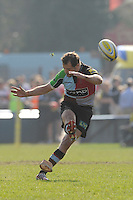 Nick Evans of Harlequins takes a penalty kick during the Aviva Premiership match between Harlequins and Bath Rugby at The Twickenham Stoop on Saturday 24th March 2012 (Photo by Rob Munro)