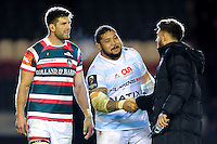 Ben Tameifuna of Racing 92 shakes hands with Owen Williams of Leicester Tigers after the match. European Rugby Champions Cup match, between Leicester Tigers and Racing 92 on October 23, 2016 at Welford Road in Leicester, England. Photo by: Patrick Khachfe / JMP