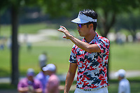 Kevin Na (USA) after sinking his par putt on 7 during round 4 of the Fort Worth Invitational, The Colonial, at Fort Worth, Texas, USA. 5/27/2018.<br /> Picture: Golffile | Ken Murray<br /> <br /> All photo usage must carry mandatory copyright credit (© Golffile | Ken Murray)