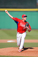 Philadelphia Phillies pitcher Justin DeFratus #79 during a Spring Training game against the Washington Nationals at Bright House Field on March 6, 2013 in Clearwater, Florida.  Philadelphia defeated Washington 6-3.  (Mike Janes/Four Seam Images)