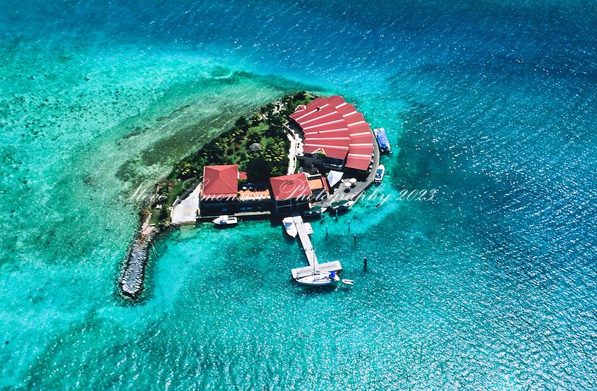 Aerial view of Saba Rock<br /> Virgin Gorda<br /> British Virgin Islands