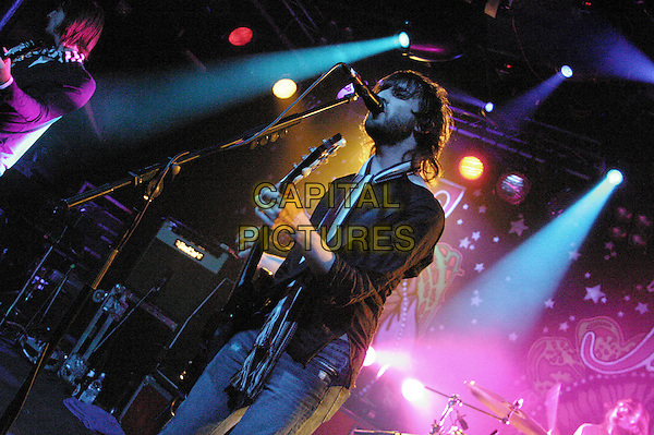 JET (NIC CESTER).Live at Rock City,.Nottingham, 18th August 2005.full length stage gig band music guitar electric microphone wall painting mural.www.capitalpictures.com.sales@capitalpictures.com.©Capital Pictures