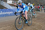 January 10, 2016 - Asheville, North Carolina, U.S. -  Luna Pro Team cyclist, Georgia Gould, in action during the USA Cycling Cyclo-Cross National Championships at the historic Biltmore Estate, Asheville, North Carolina.