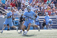 Annapolis, MD - May 20, 2018: Johns Hopkins Blue Jays Robert Kuhn (10) tries to get the ball during the quarterfinal game between Duke vs John Hopkins at  Navy-Marine Corps Memorial Stadium in Annapolis, MD.   (Photo by Elliott Brown/Media Images International)