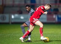 Lincoln City's Jordan Adebayo-Smith battles with Accrington Stanley's Nick Anderton<br /> <br /> Photographer Andrew Vaughan/CameraSport<br /> <br /> The EFL Checkatrade Trophy Second Round - Accrington Stanley v Lincoln City - Crown Ground - Accrington<br />  <br /> World Copyright &copy; 2018 CameraSport. All rights reserved. 43 Linden Ave. Countesthorpe. Leicester. England. LE8 5PG - Tel: +44 (0) 116 277 4147 - admin@camerasport.com - www.camerasport.com