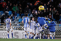 Real Sociedad's players celebrate goal during La Liga match.January 19,2013. (ALTERPHOTOS/Acero) /NortePhoto