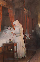 The Convalescent, 1910, oil painting by Henri-Jules Jean Geoffroy, 1853-1924, of a nurse giving medecine to a sick child in the Salle des Povres or Room of the Poor at Les Hospices de Beaune, or Hotel-Dieu de Beaune, a charitable almshouse and hospital for the poor, built 1443-57 by Flemish architect Jacques Wiscrer, and founded by Nicolas Rolin, chancellor of Burgundy, and his wife Guigone de Salins, in Beaune, Cote d'Or, Burgundy, France. The hospital was run by the nuns of the order of Les Soeurs Hospitalieres de Beaune, and remained a hospital until the 1970s. The building now houses the Musee de l'Histoire de la Medecine, or Museum of the History of Medicine, and is listed as a historic monument. Picture by Manuel Cohen