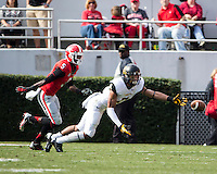 The Georgia Bulldogs beat the App State Mountaineers 45-6 in their homecoming game.  After a close first half, UGA scored 31 unanswered points in the second half.  Appalachian State Mountaineers wide receiver Malachi Jones (7)