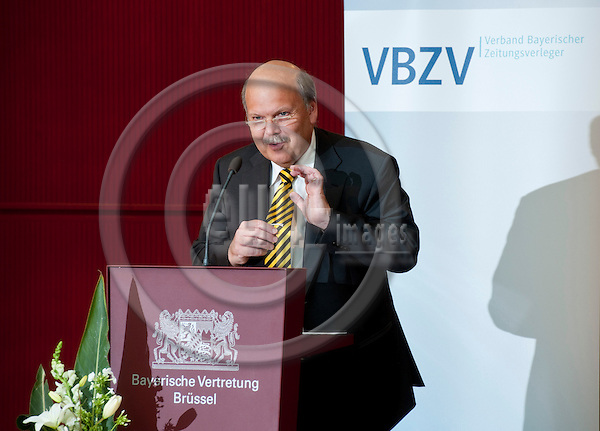 Brussels-Belgium - May 30, 2011 -- Annual Conference of the Bavarian Newspaper Publishers (VBZV - Verband Bayerischer Zeitungsverleger e.V.) at the Representation of the Free State of Bavaria to the EU; here, Valdo LEHARI, Vice-President of the European Newspaper Publisher's Association  (ENPA), Member of the Board of the World Association of Newspapers and News Publishers (WAN/IFRA), during his keynote speech -- Photo: Horst Wagner / eup-images