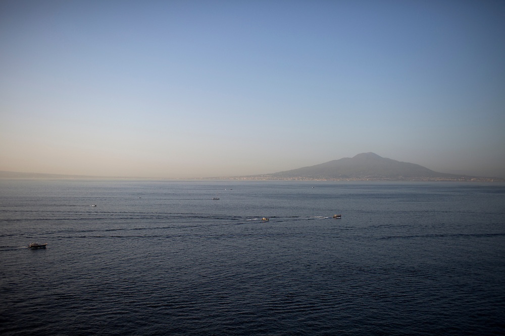 Mount Vesuvius is seen across the Gulf of Naples on Thursday, Sept. 17, 2015, in Sorrento, Italy. (Photo by James Brosher)