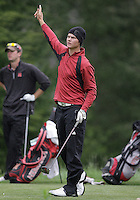 21 May, 2010:   University of Denver's Espen Kofstad points the direction that his ball is sailing after he drove it on hole 11 during the first round of the NCAA West Regionals at Gold Mountain Golf Course in Bremerton, Washington.